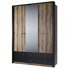 Шкаф 3DG2S Z, JAGGER, цвет Дуб монастырский /Черный