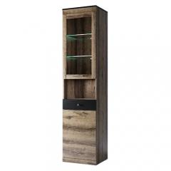 Шкаф с витриной 1V1D1SN, JAGGER, цвет Дуб монастырский /Черный