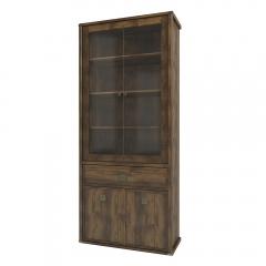 Шкаф с витриной 2V2D1S, MAGELLAN, цвет Дуб саттер