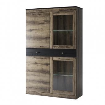 Шкаф с витриной 2V2D1S, JAGGER, цвет Дуб монастырский /Черный