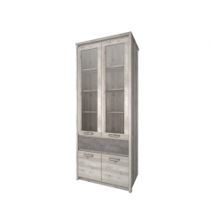 Шкаф с витриной 2V2D1S, JAZZ, цвет Каштан найроби/Оникс