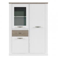 Шкаф с витриной 1V2D1S, PROVANS, цвет вудлайн крем/ дуб кантри