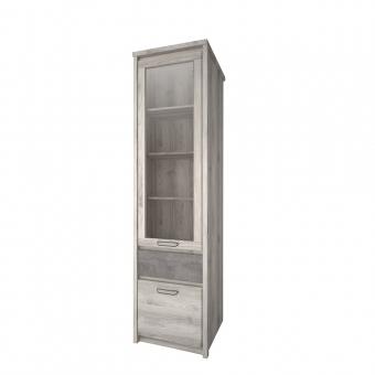 Шкаф с витриной 1V1D1S, JAZZ, цвет Каштан найроби/Оникс