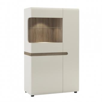Шкаф с витриной 3D-1S/TYP 32, LINATE ,цвет белый/сонома трюфель
