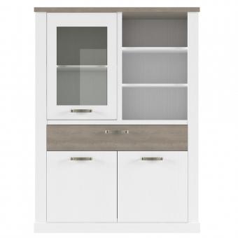 Шкаф с витриной 1V2D1SN, PROVANS, цвет вудлайн крем/ дуб кантри