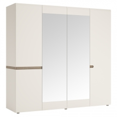 Шкаф 4D/TYP 23A, LINATE ,цвет белый/сонома трюфель