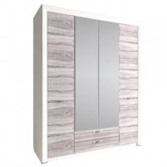 Шкаф 4D2S Z, OLIVIA, цвет вудлайн крем/дуб анкона