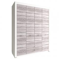 Шкаф 4D2S без зеркала, OLIVIA, цвет вудлайн крем/дуб анкона