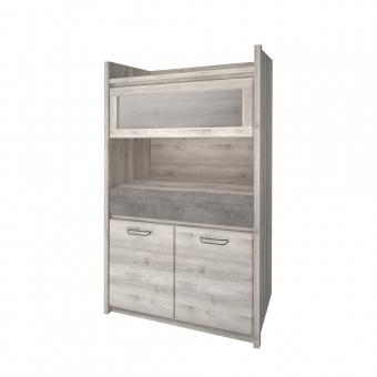 Шкаф с витриной 1V2D1S, JAZZ, цвет Каштан найроби/Оникс