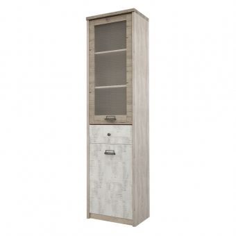 Шкаф с витриной 1V1D1S/D2, DIESEL , цвет дуб мадура/энигма